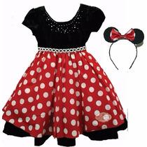 Vestido Infantil Luxo Minnie Vermelho 4 Ao 12 Anos Com Tiara