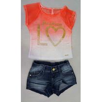 Conjunto Fashion Estampado 30244503 Planet Kids Rosa