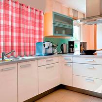 Cortina Para Cozinha Xadrez 1,40m X 2,00m Salehtex - Rosa