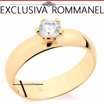 Rommanel Anel Aliança Folhead Ouro Solitario Zirconia 511401