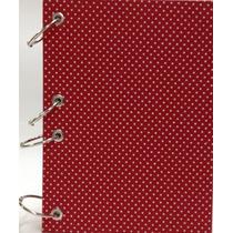 Caderno Pequeno Argolado Fichário Poá Vermelho 170x230 192f
