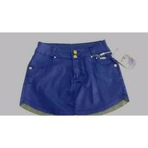 Saia Curta Edex Jeans Confort Couro Ecológico