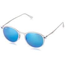 Ray-ban Round Sunglasses In Matte Transparent Green Blue Mir
