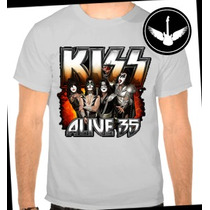 Camiseta Kiss Alive Banda Rock Ou Baby Look Regata Blusa