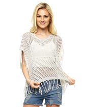 Ecofashion - Suéter Blanco Tejido Crochet - Blanco - 28916