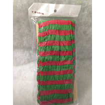 Mallas Delgadas Nylon Rayada Verde Con Rojo Niña
