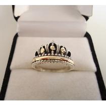 Anillo Corona Reina Plata Y Oro Encamisado Hermoso!!!