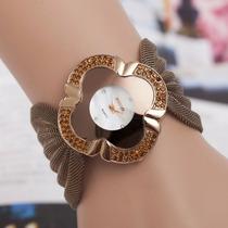 Relogio Feminino Bracelete Luxo Novidade 2016 Bronze