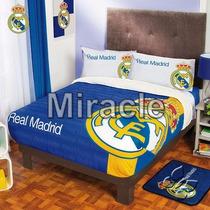 Cobertor Real Madrid Fleece Con Borrega Matrimonial In