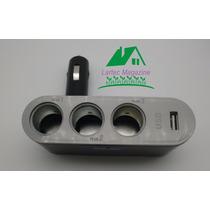 Extensão Acendedor De Cigarro Para Carro 3 Saidas Com 1usb