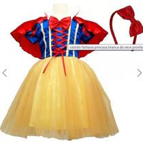 Vestido Fantasia Infantil Princesa Branca De Neve + Arco