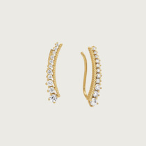 Brinco Ear Cuff Em Ouro 18k(750) Com Zircônias