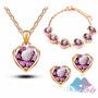 Set Cadena Dije Aros Y Brazalete En Corazon Diamante Cristal