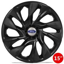Calota 15 Ds4 Black Preta Com Emblema Ford New Fiesta Focus