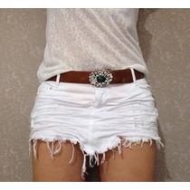 Saia Bico Amassada Jeans Destroyed Desfiada Moda Branca