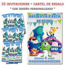 Monster University Cumpleaños 25 Invitaciones /cartel Regalo