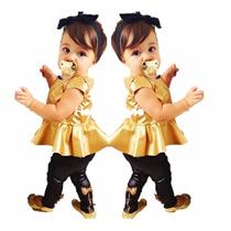 Roupa Bebê Conjunto Menina Dourado Pronta Entrega