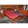 Juego Dormitorio Algarrobo= Cama 2 Pzas+ Cómoda+ 2 Mesas Lúz