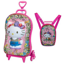 Mochila Infantil Rodinhas Hello Kitty 3d + Lancheira Maxtoy