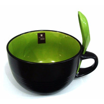 Caneca Sopa Com Colher - Cerâmica - Hércules Verde 500 Ml