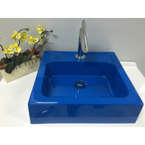 Cuba / Pia De Apoio Para Banheiro Quadrada Gênova - Azul