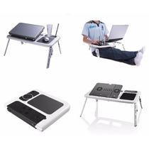 Mesa Notebook Com Cooler Dobrável Suporte Base Mouse Copo