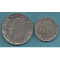 2 Moedas Da Espanha 50 E 5 Pesetas 1975 (291)