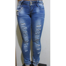 Calça Jeans Rasgada Com Brilhos E Pérola
