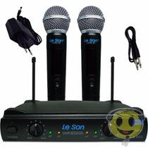 Microfone Sem Fio Duplo Leson Ls 902 Recarregavel Kadu Som