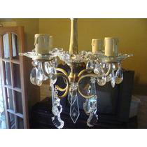 Araña De Bronce Con Caireles De Cristal - Cuatro Luces