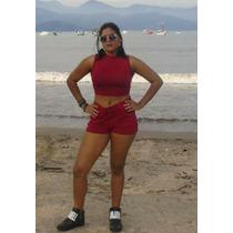 Conjunto Cropped Gola Alta Shorts Blogueira Ref:15208