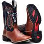 Bota Country Masculina Cano Longo Texana Bico Quadrado Couro