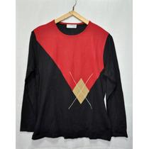 Sweter Negro Y Rojo De Mujer Talle Unico Marca Perimetro
