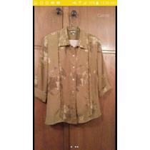 Camisa De Dama Estampada En Tonos Beige Y Marron Talla L