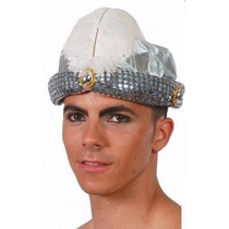 Sombrero De Marajá O Paje Real Tipo Turbante Arabe Plateado