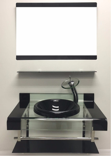 Gabinete De Vidro Para Banheiro Dupla Faixa 80cm Preto  R$ 949,00 em Mercado -> Armario Para Banheiro De Vidro Mercadolivre