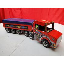 Caminhão Grande De Puxar Em Madeira Bitrem Brinquedo Scania