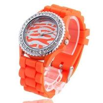 Reloj Geneva Con Strass Cebra Silicona Naranja
