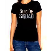 Playera Suicide Squad Dama Vinil Plata, Holograma Y Colores
