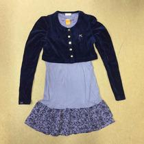 Vestido Marisol Infantil E Bolero Veludo - Azul Ref: 13809