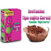 Barney Invitacion Cajita Cereal Y Mas, Mejor Kit Imprimible