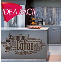 Vinilo Decorativo Texto Café Cafeterias - 120 B X 60 A