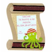 Invitación Bautizo Cumpleaños Pirata Foamy 1/2 Docena