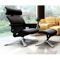 Cadeira Lounge Moln Nuvem Em Couro Preto E Frame Preto