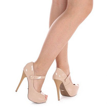 Peep Toe Salto Feminino Lara - Nude