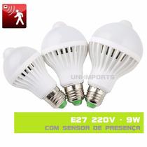 Lampada Led 9w 220v Com Sensor De Presença Movimento E27