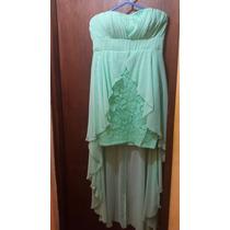 Vestido Strapless De Gasa Y Guipur. Verde Agua.talla M
