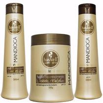 Kit Haskell Mandioca Shampoo Condicionador 500ml Máscara500g