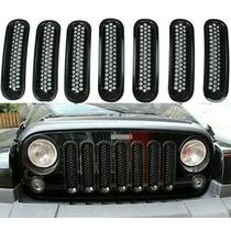 Inserto Parrilla Jeep 7pz Wrangler Negro Full Sahara Rubicon