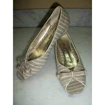 Zapatos Rayados Efe De Piso 3.5 Mex. P/dama Boca De Pescado